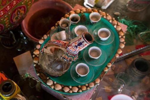 Coffee on table in Rashaida tribe, Kassala State, Kassala, Sudan