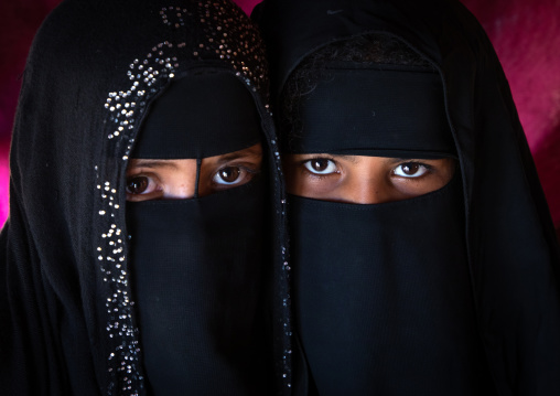 Portrait of Rashaida tribe veiled girls, Kassala State, Kassala, Sudan