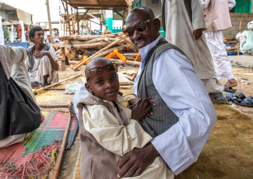Portrait of Beja tribe father and son, Red Sea State, Port Sudan, Sudan