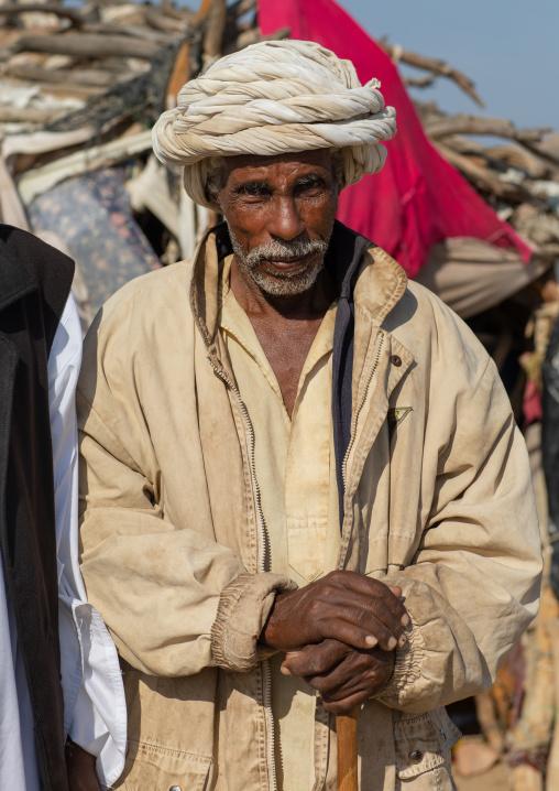 Portrait of a Beja tribe old man, Red Sea State, Port Sudan, Sudan