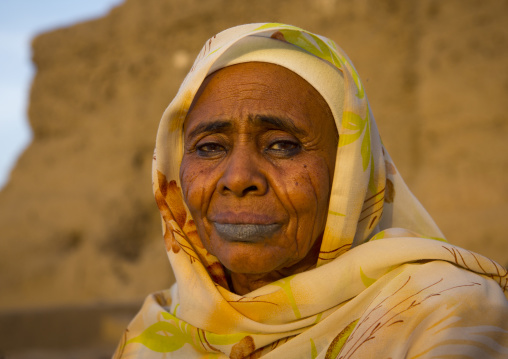 Sudan, Northern Province, Kerma, old sudanese woman with tattooed lips