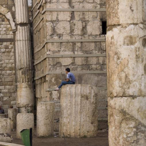Kid Sit On A Roman Column, Damascus, Damascus Governorate, Syria