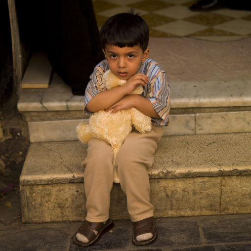 Kid Holding His Teddy Bear, Damascus, Damascus Governorate, Syria