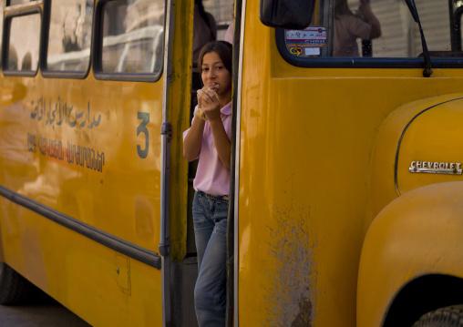 Girl In A School Bus, Aleppo, Aleppo Governorate, Syria