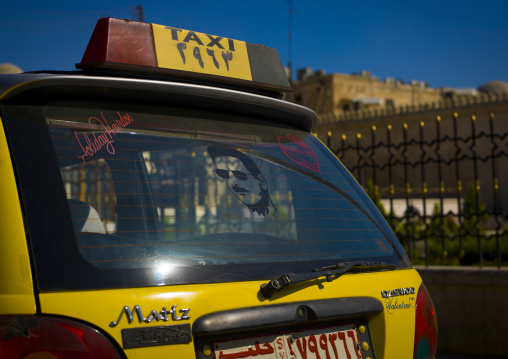 Taxi With Bashar Al Assad Image On The Glass, Aleppo, Aleppo Governorate, Syria