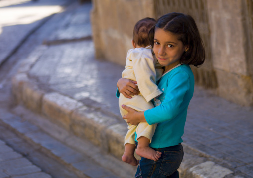 Young Girl With Her Brother, Aleppo, Aleppo Governorate, Syria