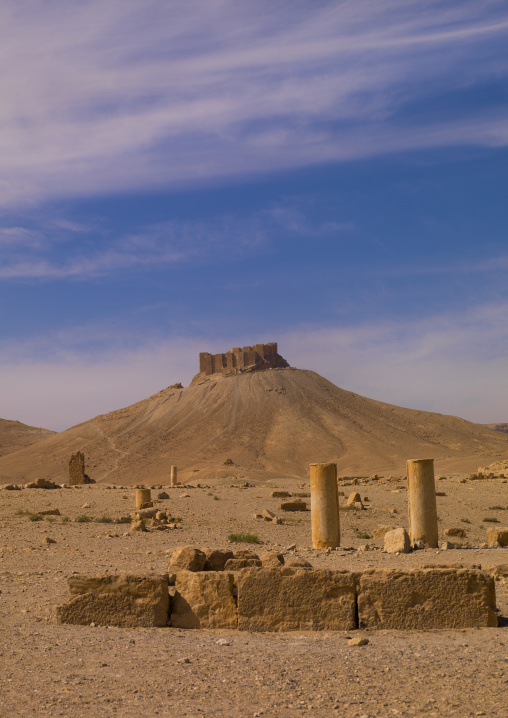 Hilltop Fort In The Ancient Roman City, Palmyra, Syrian Desert, Syria