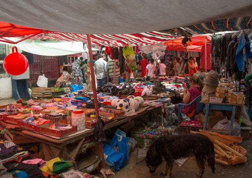Toys and clothes for sale in a local market, Gorno-Badakhshan autonomous region, Khorog, Tajikistan
