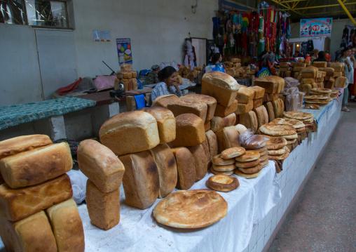 A variety of specialist breads sold in a local market, Gorno-Badakhshan autonomous region, Khorog, Tajikistan