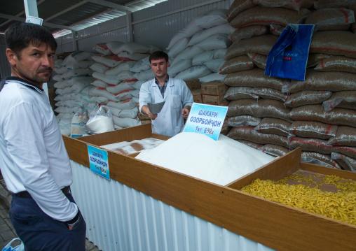 Sugar and pastas for sale in a local market, Gorno-Badakhshan autonomous region, Khorog, Tajikistan