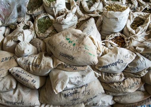 Bags of dried herbs in a traditional drug store, Gorno-Badakhshan autonomous region, Khorog, Tajikistan