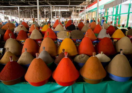 Spice cones on a stall in a local market, Gorno-Badakhshan autonomous region, Khorog, Tajikistan