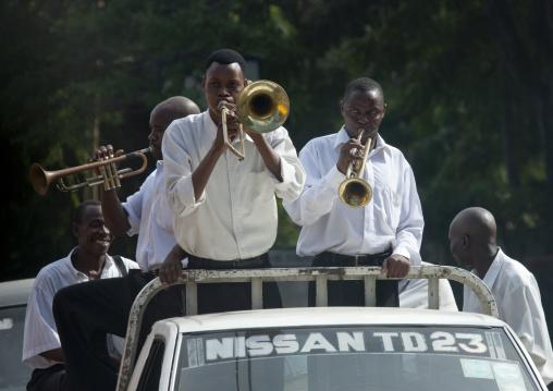Orchestra on a car for a wedding in dar es salaam, Tanzania