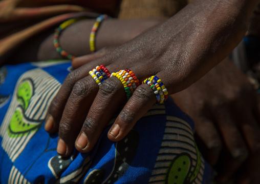 Tanzania, Serengeti Plateau, Lake Eyasi, hadzabe tribe rings made of beads