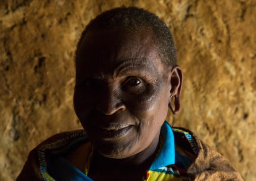 Tanzania, Serengeti Plateau, Lake Eyasi, datoga tribe woman with scarifications and tattoos on the face