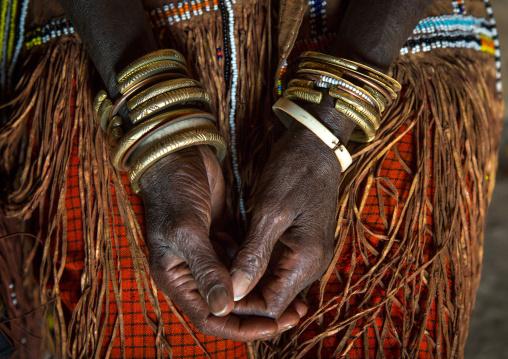 Tanzania, Serengeti Plateau, Lake Eyasi, the numerous decorated iron, brass, copper and leather bracelets worn by a datoga woman