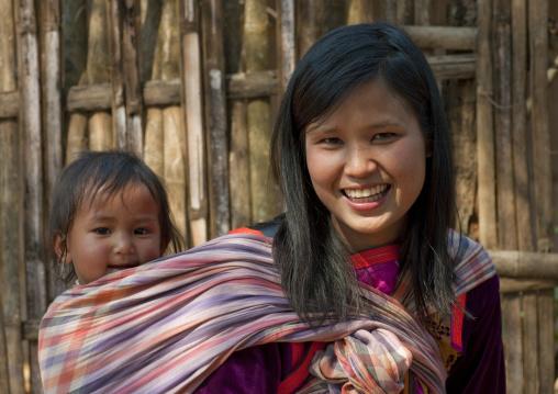 Mother and baby, Ban nam rin village, Lisu tribe, Thailand