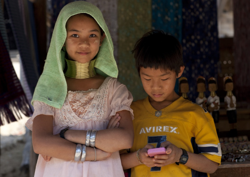 Miss mujee and her brother from karen long neck tribe, Mae hong son area, Thailand
