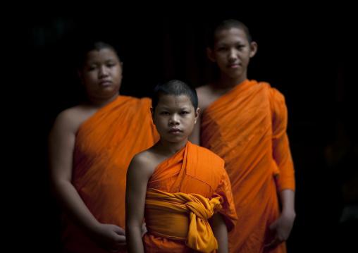 Novice boys in safran clothes, Bangkok, Thailand