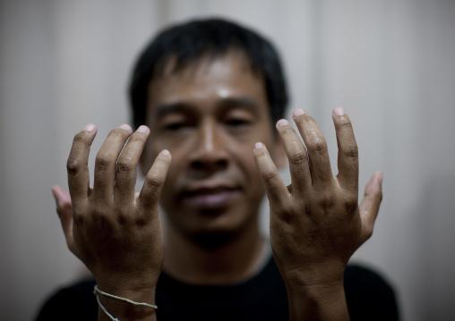 Hands of a massage man, Bangkok, Thailand