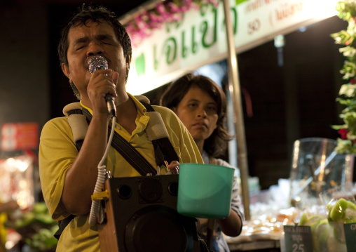 Blind man begging in the street, Bangkok thailand