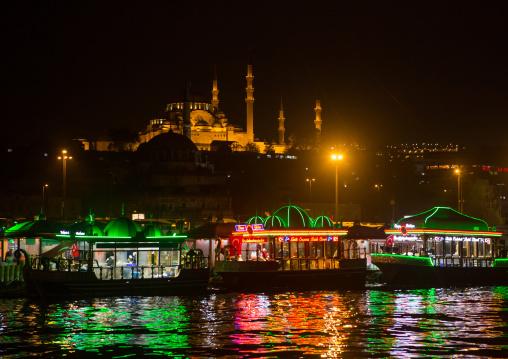 Galata bridge restaurants with Suleymaniye mosque in the back at night, Marmara Region, istanbul, Turkey