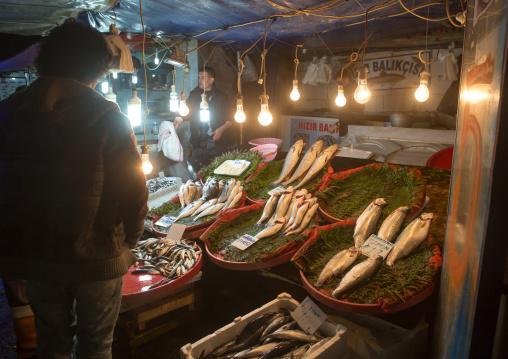 Fish market near Galata bridge, Eminonu quarter, istanbul, Turkey