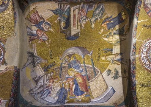 Golden mosaics on the vault of the esonarthex in the byzantine church of st. Savior in Chora, Edirnekapı, istanbul, Turkey