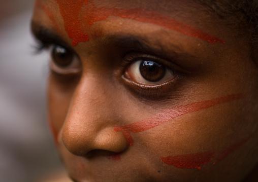Portrait of a Small Nambas child girl, Malekula island, Gortiengser, Vanuatu