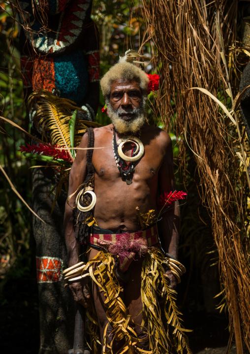 Portrait of chieftain Etul in front of the nakamal, Ambrym island, Fanla, Vanuatu