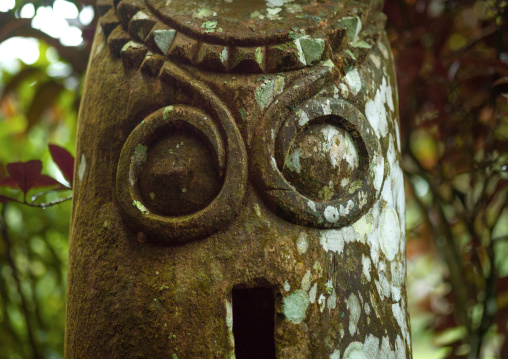 Wild pig tusks carved on a slit gong drum, Ambrym island, Olal, Vanuatu