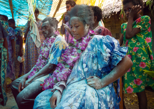 Couple covered in flour during a traditional wedding, Malampa Province, Ambrym island, Vanuatu