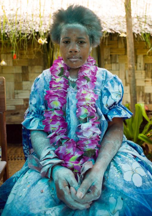 Bride covered in flour during a traditional wedding, Malampa Province, Ambrym island, Vanuatu