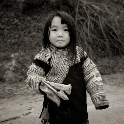 Young flower hmong girl in traditional dress, Sapa, Vietnam