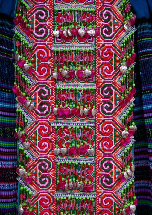 Details of a traditional flower hmong cloth, Sapa, Vietnam