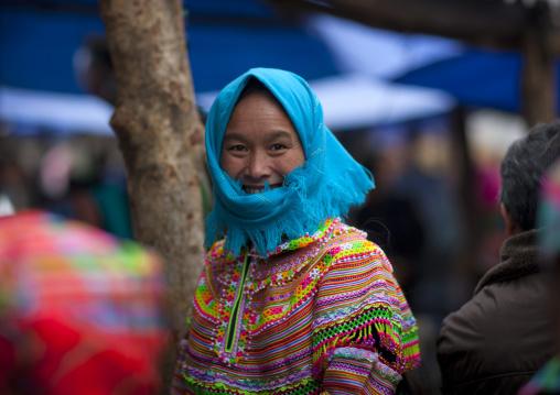Veiled flower hmong woman, Sapa, Vietnam