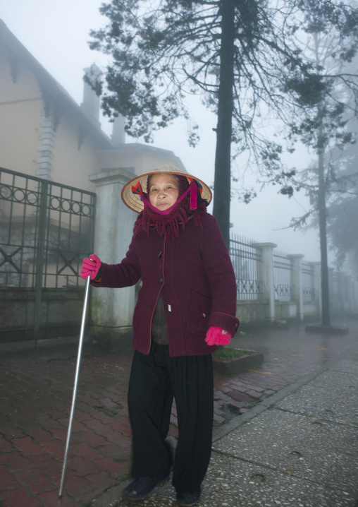 Old woman with a walking stick in the streets of sapa, Vietnam