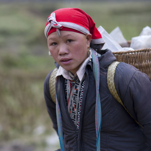 Red dzao woman carrying a basket on her shoulders, Sapa, Vietnam