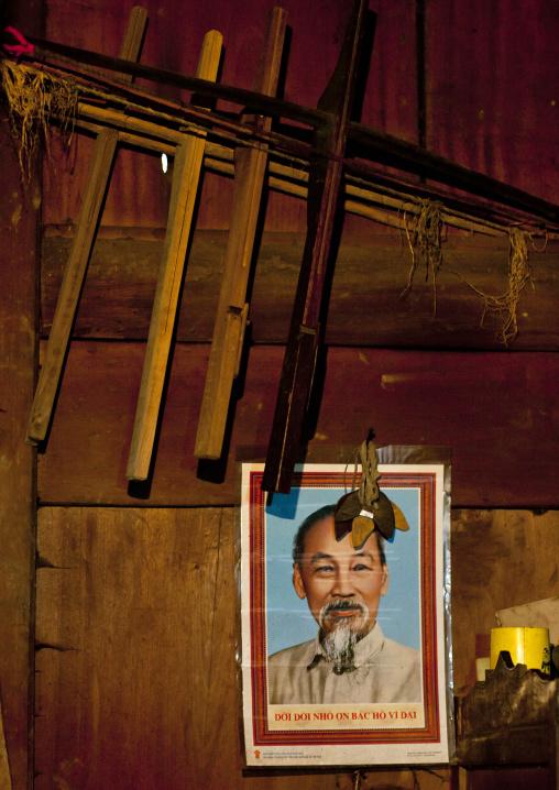Portait of ho chi minh inside a red dzao house, Sapa, Vietnam