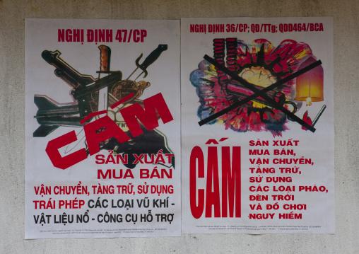 Poster of an awareness campaign against firecrackers, Sapa, Vietnam
