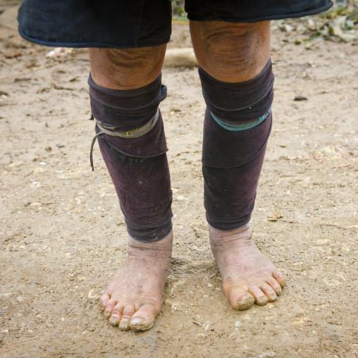 Black hmong leg warmers, Sapa, Vietnam