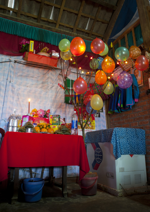 Inside a house decorated for tet party, Sapa, Vietnam