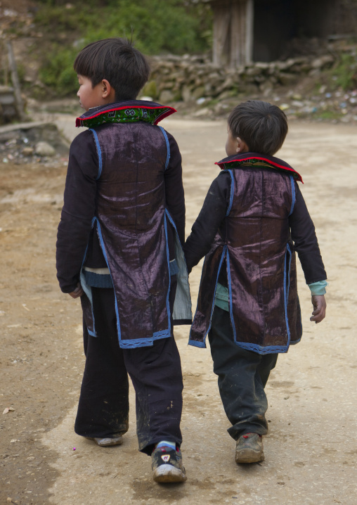 Black hmong boys in traditional clothes, Sapa, Vietnam