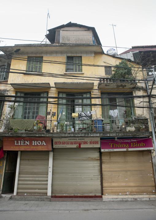 Shops closed on tet day, Hanoi, Vietnam