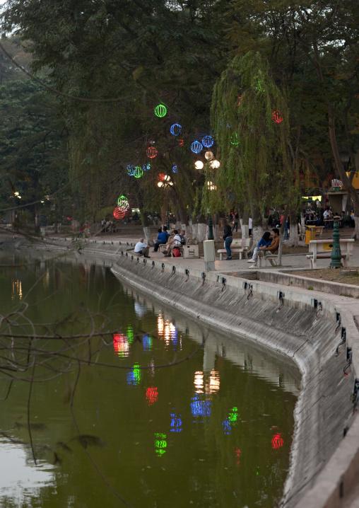 Lanterns for tet party on the banks hoan kiem lake, Hanoi, Vietnam