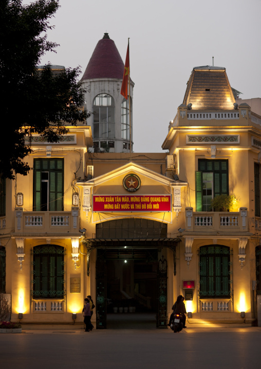 Official building lighted at night, Hanoi, Vietnam
