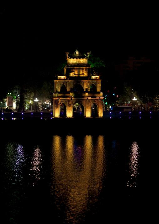 Turtle tower in the middle of hoan kiem lake , Hanoi, Vietnam