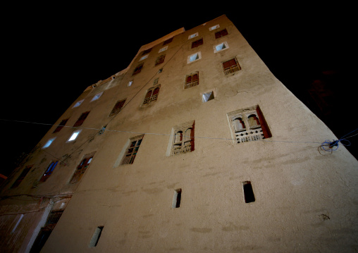 Night View Of A Five Storey House In Shibam, Yemen