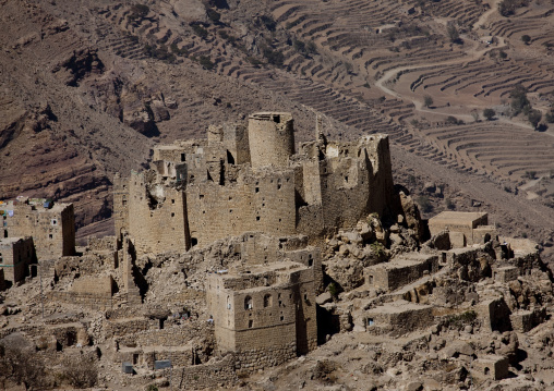 Overview Of A Village Merging With The Mountain And Terrace Cultivation, Hababa, Yemen