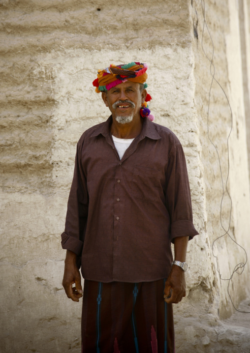 Old Man Wearing  A Colourful Turban With Bobbles, Hadramaut, Yemen